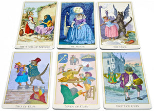 Fantastic menagerie Tarot deck photographed to show the graphic illustrations clearly
