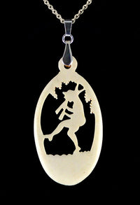 hand carved antique bone pendant. Fairytale picture.