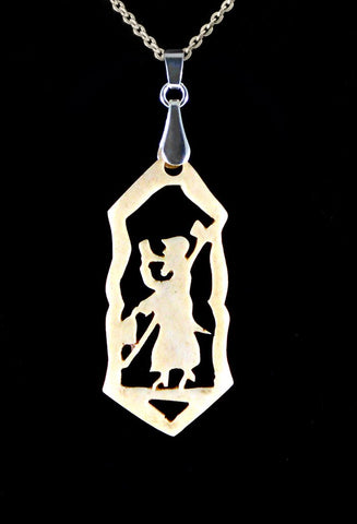 """Night Watchman"" - Carved bone fairytale pendant. Handmade and antique."