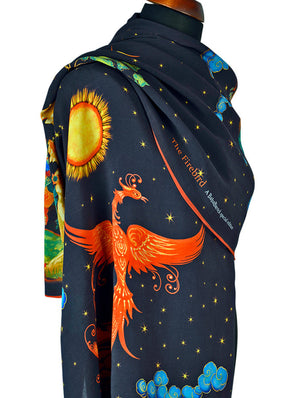 Baba Studio printed scarves with The Firebird design. Viscose scarf / wrap with hand rolled hem