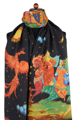 Firebird scarf - printed viscose scarves / wraps by Baba Studio