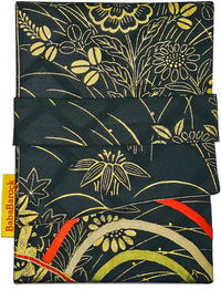 Black and Gold with colours - foldover pouch in vintage Japanese silk