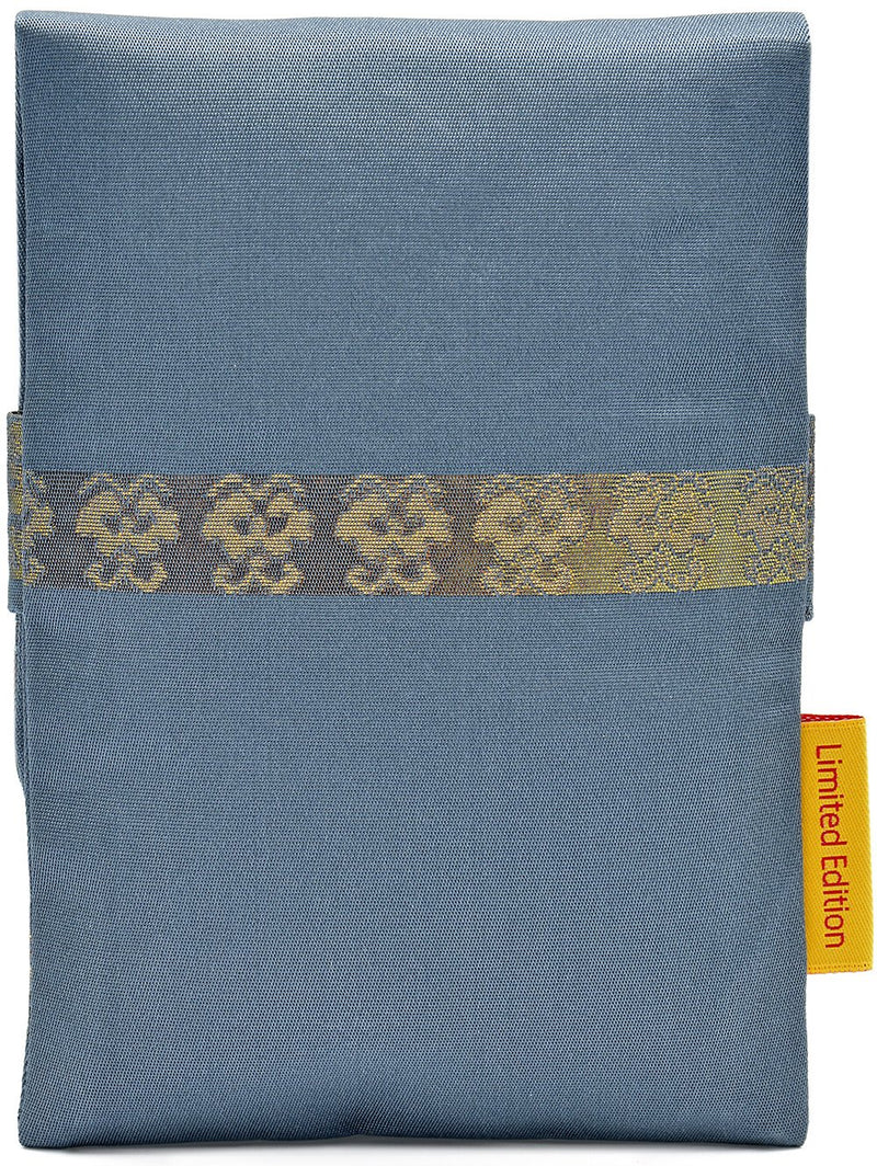 Soft Blue and Golds - foldover tarot pouch in vintage Japanese silk