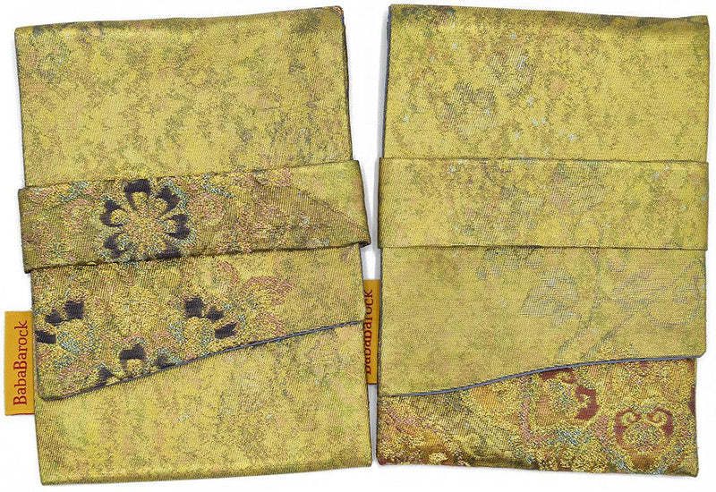 Rich Golds - foldover tarot pouch in vintage Japanese silk