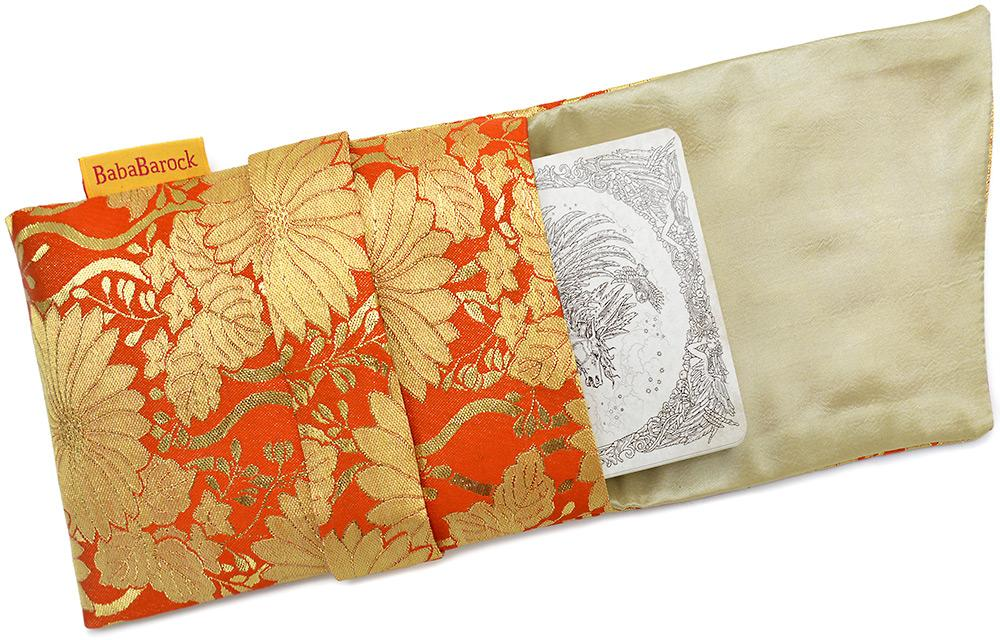 Reds and Golds. Japanese vintage silk foldover pouch.