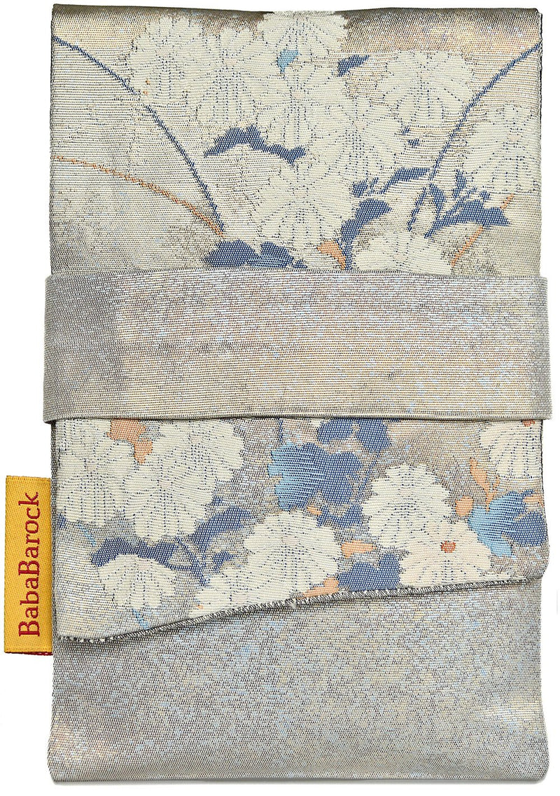 Silvers and Blues - Japanese vintage silk foldover tarot pouch. Pouch F.