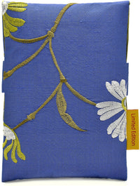 Embroidered blue/green/white flowers - foldover tarot pouch in pure silk