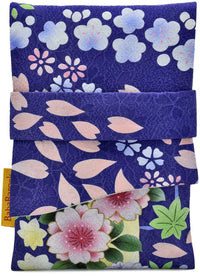 Vintage tarot bag, foldover tarot pouch in Japanese kimono silk, purple with floral pattern