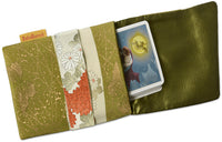 Gilded garden. Japanese vintage silk foldover pouch. Slight seconds.