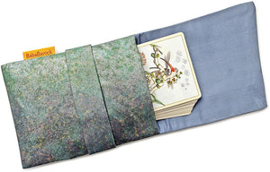 Shades of Green - Japanese vintage silk foldover tarot pouch