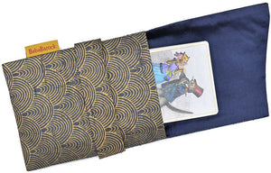 Tarot bag lined in silk, tarot foldover pouch in pure silk, bags printed by hand for tarot cards / decks.