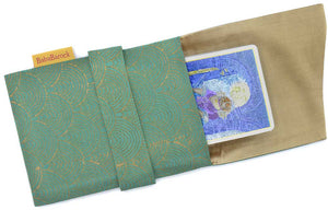 Tarot pouch lined in pure silk, tarot bag hand-printed in Indian dupion silk in green & gold, unique tarot bags by Baba Studio.