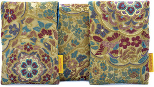 Floral bags for tarot cards in vintage obi fabric, velvet tarot bags with limited edition label.