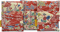 Silk tarot bags by Baba Studio, foldover tarot pouches in vintage fabric, floral design with red and cream silk.