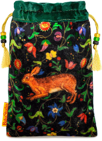 The Little Brown Hare bag. Printed on silk velvet. Green velvet version.