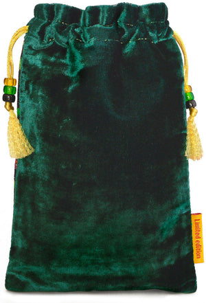 The Dragon bag. Printed on silk velvet. Forest green velvet version. - Baba Store EU - 2