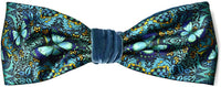 Printed headband with butterfly design. Blue Butterflies satin and silk velvet headbands by Baba Studio