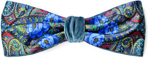 Blue Roses headband - printed satin and silk velvet headbands by Baba Studio.