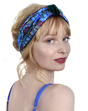 Blue Roses headband by Baba Studio. Printed headbands in satin & teal silk velvet with roses pattern