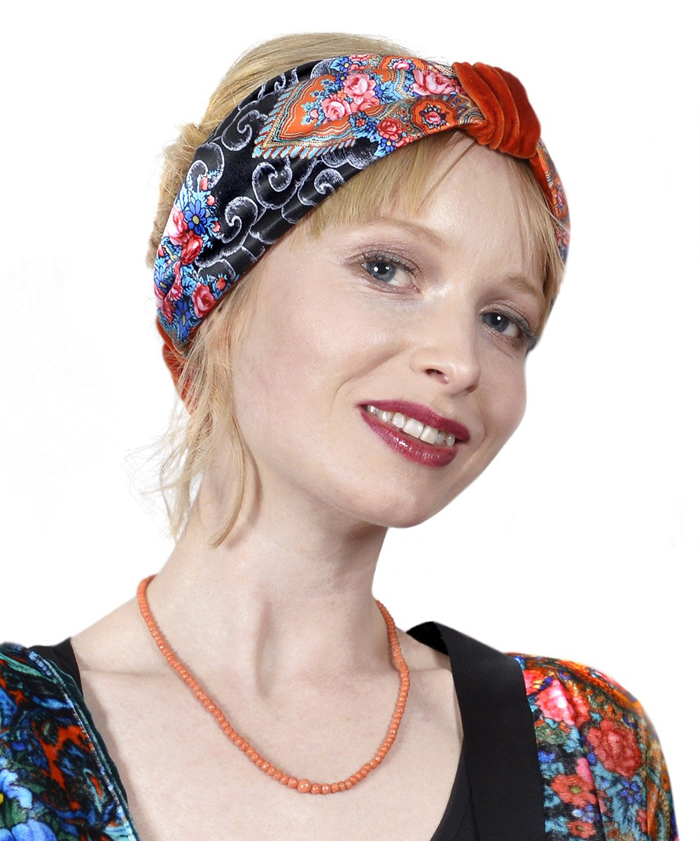 Clouds and Roses - Boho style velvet headband by Baba Studio