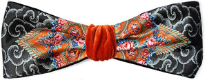 Bohemian style headband by Baba Studio. Printed satin and orange velvet headbands