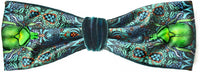 Satin headband with beetle design. Printed headbands in teal silk velvet by Baba Studio