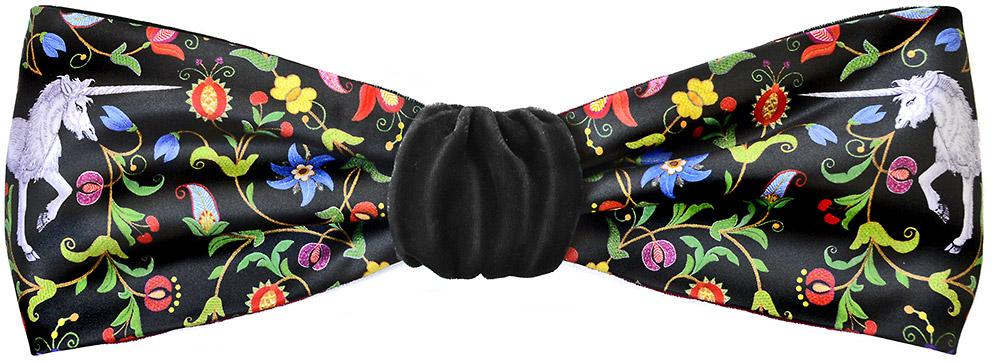 Mythical Unicorns headband in black silk velvet. By Baba Studio