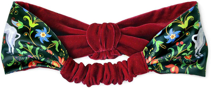 Velvet headband with unicorns, printed satin headband with red velvet. By Baba Studio