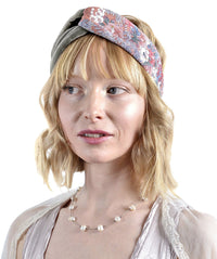 Twist velvet headband with vintage Japanese silk kimono. Handmade by Baba Studio