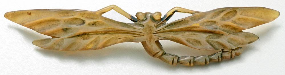 carved horn, insect, dragonfly, brooch, pin georges pierre, elizabeth bonte, art nouveau, antique,