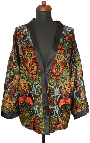 Flaming orange Butterfly Belle, silk velvet jacket