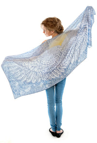 Wings of an Angel, pale version, pure silk-satin scarf/wrap. - Baba Store EU - 1