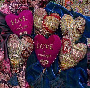 Love charm, stuffed hearts, embroidered, decorations, fabric decorations, love is enough