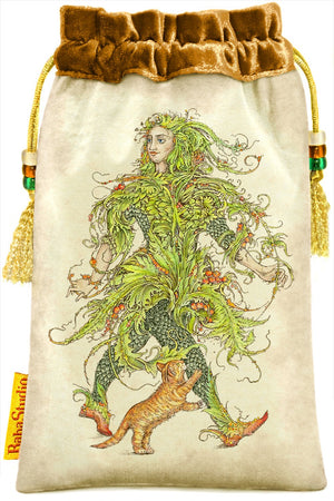 Mythical Creatures Tarot bag, The Fool velvet tarot pouch by Baba Studio