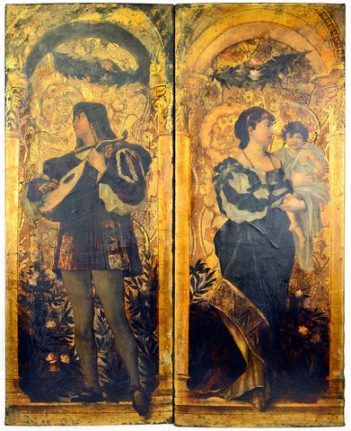 Original Art Nouveau panels painted on leather