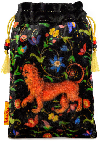 The Manticore bag. Printed on silk velvet. Black velvet version.