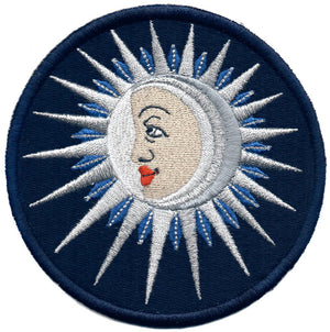 The Moon (La Lune) embroidery patch - midnight blue version