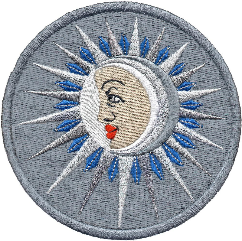 The Moon (La Lune) embroidery patch - silver-grey version