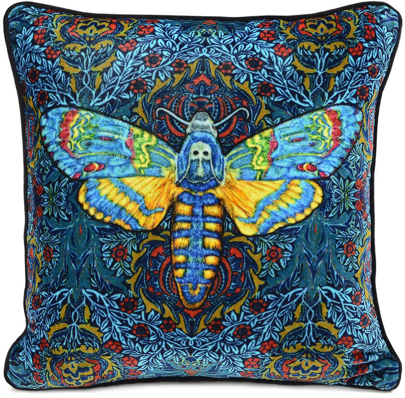 moth cus`hion, death's head moth, hawkmoth, silk velvet, velvet moth, pillow, printed cushion, insect cushion