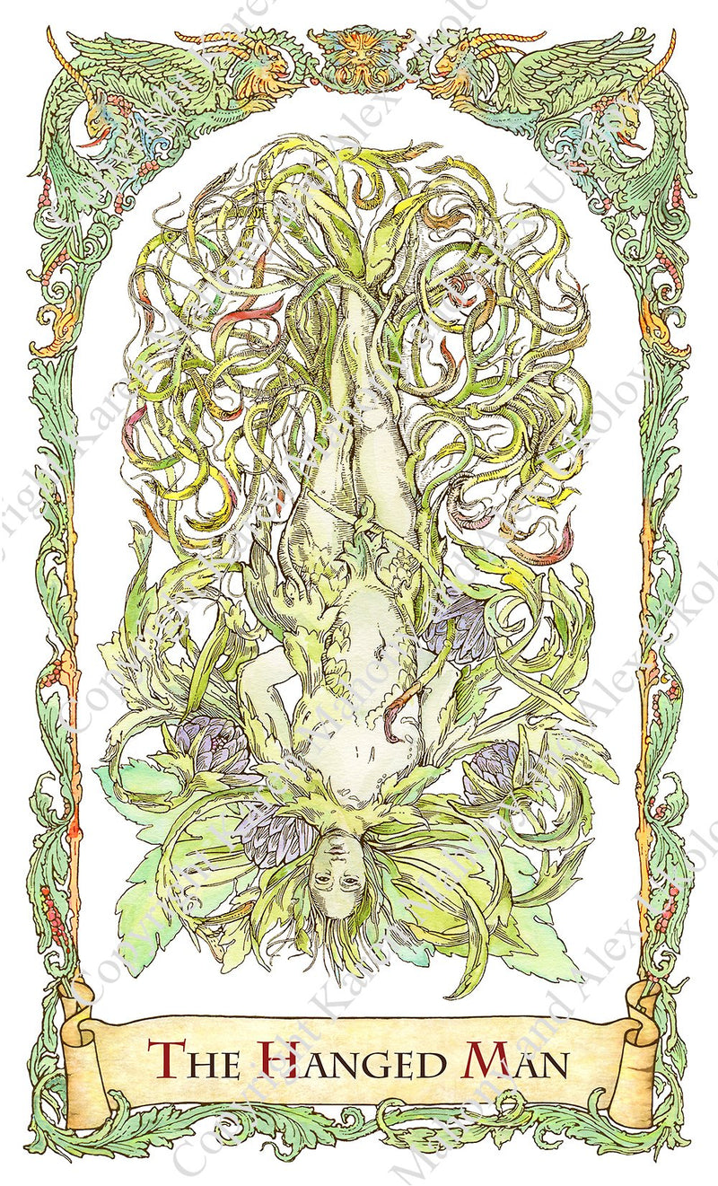 mythical creatures tarot, five of cups, baba studio, bababarock, tarot cards, mandrake, the hanged man, fantastic creatures tarot, tarot de marseilles