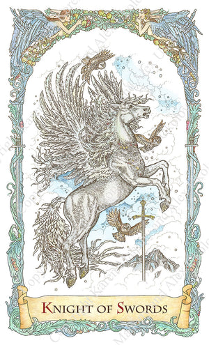 mythical creatures tarot, pegasus, knight of swords, winged horse, baba studio, bababarock, tarot cards, fantastic creatures tarot, tarot de marseilles