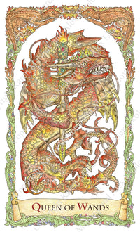 mythical creatures tarot, queen of wands, dragon, chinese dragon, baba studio, bababarock, tarot cards, fantastic creatures tarot, tarot de marseilles