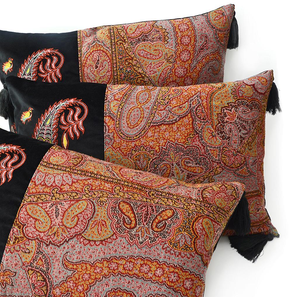Paisley cushion, antique fabric,  châle cachemire antique, embroidered pillow, paisley boteh embroidery