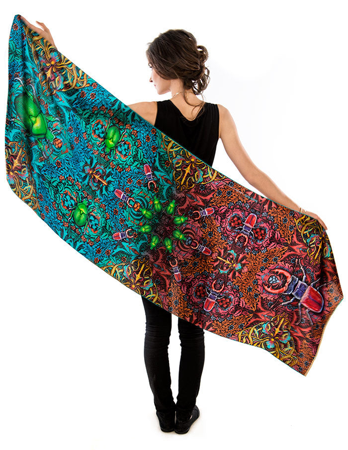 Art Nouveau Scarves - Beetle print scarf in viscose, wrap with hand rolled hem. By Baba Studio.
