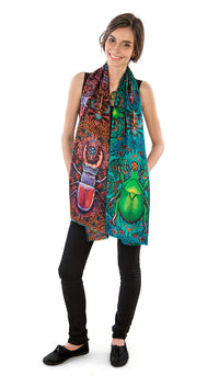 Printed viscose scarves in Art Nouveau style. Scarab beetle print wrap by Baba Studio