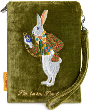 white rabbit, alice in wonderland, I'm late, embroidered, silk velvet, wristlet, evening bag,pouch,Alice au pays des merveilles, Alice im wunderland