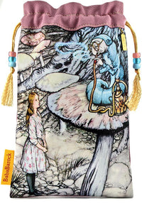 Printed tarot bag, Alice and the Caterpillar by Arthur Rackham. Alice in Wonderland tarot pouch in vintage kimono silk. By Baba Studio.