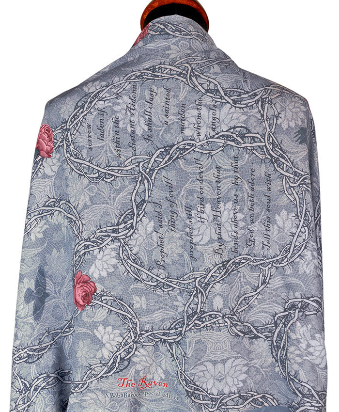 Printed scarves with Gothic design, The Raven viscose wraps by Baba Studio