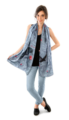 The Raven, pure silk-satin scarf/wrap.