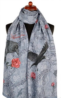 Gothic print scarves - The Raven by Poe. Printed viscose scarf / wrap designed by Baba Studio